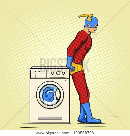 Superhero in the laundry cartoon pop art vector illustration. Human comic book vintage retro style.