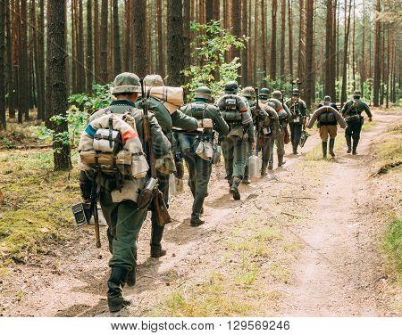 Unidentified Re-enactors Dressed As German Wehrmacht Soldier Walk In Summer Forest
