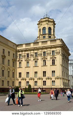 MINSK BELARUS - MAY 2 2016: Street scene in the center of Minsk capital of Belarus. Old Soviet architecture