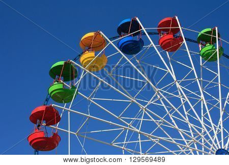 Big wheel with colored cabins against the sky