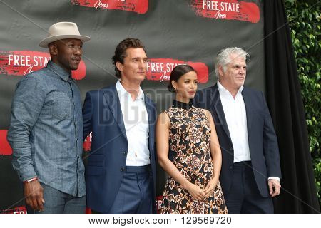 LOS ANGELES - MAY 11:  Mahershala Ali, Matthew McConaughey, Gugu Mbatha-Raw, Gary Ross at the Free State Of Jones Photocall at the Four Seasons Hotel Los Angeles on May 11, 2016 in Los Angeles, CA