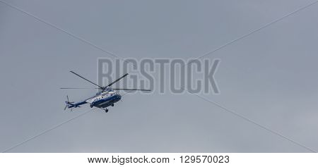 ROSTOV-ON-DON RUSSIA- MAY 11- Police helicopter monitoring the situation on May 112015 in Rostov-on-Don