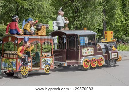 ROSTOV-ON-DON RUSSIA- MAY 11- Cheerful train in the park of the Revolution on May 112015 in Rostov-on-Don