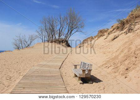 A boardwalk part of the Pierce Scenic Drive, Sleeping Bear Dunes National Lakeshore, Michigan.