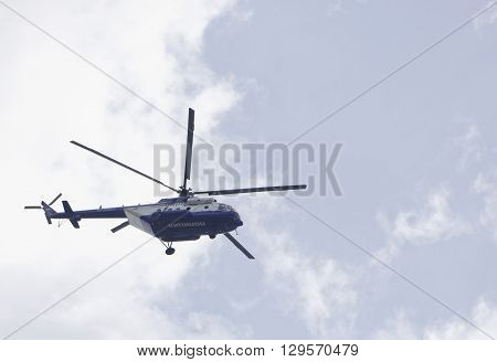 ROSTOV-ON-DON RUSSIA- MAY 11- Police helicopter monitoring the situation on May 11 2015 in Rostov-on-Don