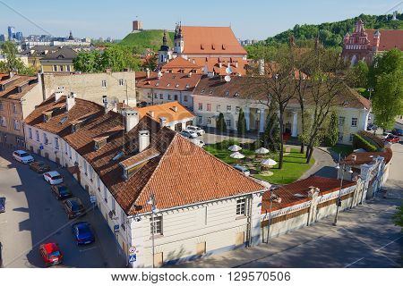 VILNIUS, LITHUANIA - MAY 13, 2016: View to the old town in Vilnius, Lithuania.