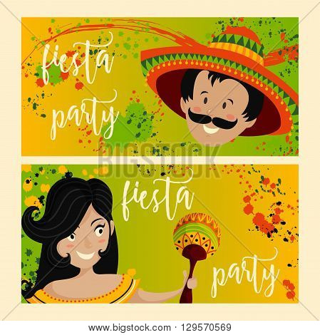 Beautiful greeting card, invitation for fiesta festival. Design concept for Mexican Cinco de Mayo holiday with Mexican woman with maracas and Mexican man in sombrero. Vector illustration