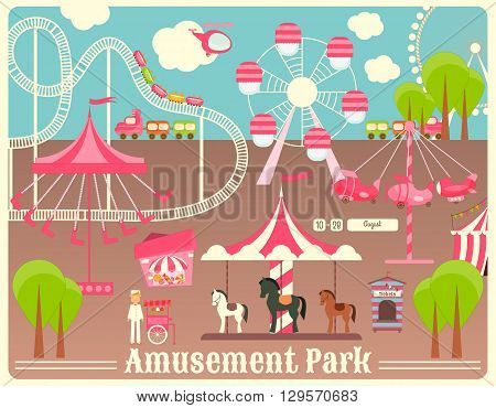 Amusement Park. Summer Holiday Card with Fairground Elements. Vector Illustration.