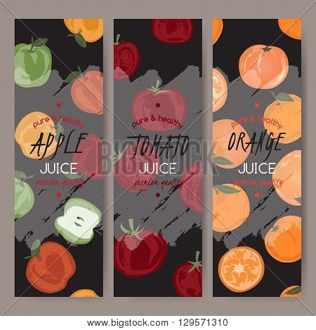 Set of 3 vector templates for apple, orange and tomato juice. Based on had drawn sketch. Great for packaging and advertising design.