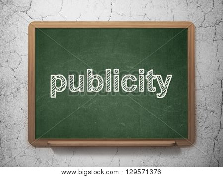Marketing concept: text Publicity on Green chalkboard on grunge wall background, 3D rendering