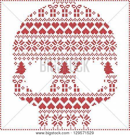 Scandinavian Norwegian style  winter stitching  knitting  christmas pattern in  in sugar skull  shape including snowflakes, hearts xmas trees christmas presents, snow, stars, decorative ornaments on white