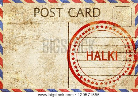 Halki, vintage postcard with a rough rubber stamp