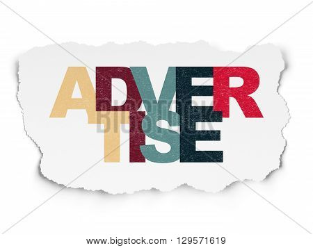 Advertising concept: Painted multicolor text Advertise on Torn Paper background