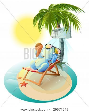 Snowman eating ice cream. Snowman in deck chair under air conditioner. Snowman under palm tree. Cartoon illustration in vector format