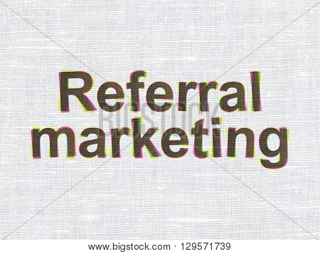 Advertising concept: CMYK Referral Marketing on linen fabric texture background