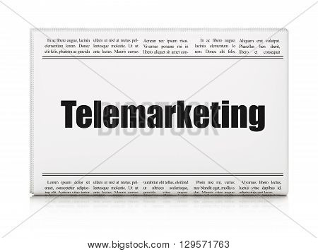 Marketing concept: newspaper headline Telemarketing on White background, 3D rendering
