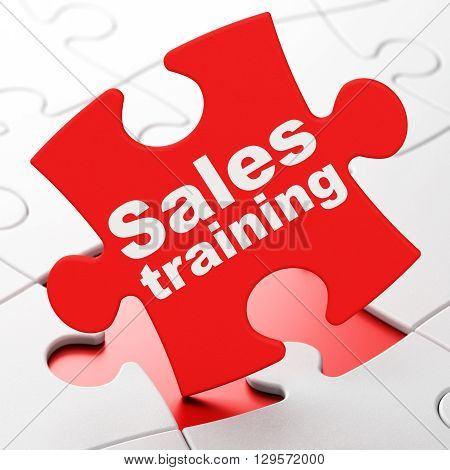 Advertising concept: Sales Training on Red puzzle pieces background, 3D rendering