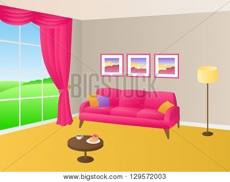 Living room yellow pink sofa pillows lamp window illustration vector