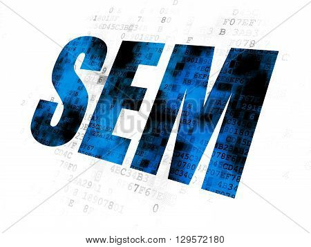 Marketing concept: Pixelated blue text SEM on Digital background