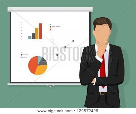 A successful confident businessman thinking about decisions, standing in front of Projector Screen full with graph pie charts and calculations concept. Vector illustration