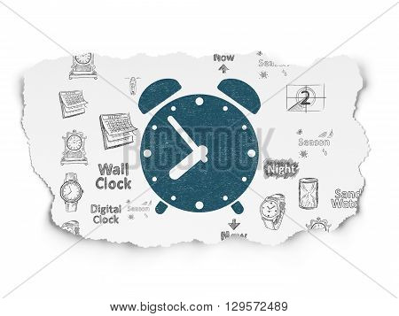 Timeline concept: Painted blue Alarm Clock icon on Torn Paper background with  Hand Drawing Time Icons