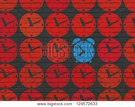 Timeline concept: rows of Painted red clock icons around blue alarm clock icon on Black Brick wall background