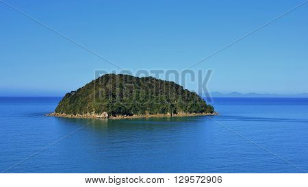 Nature background. Small island in New Zealand. Abel Tasman national Park.