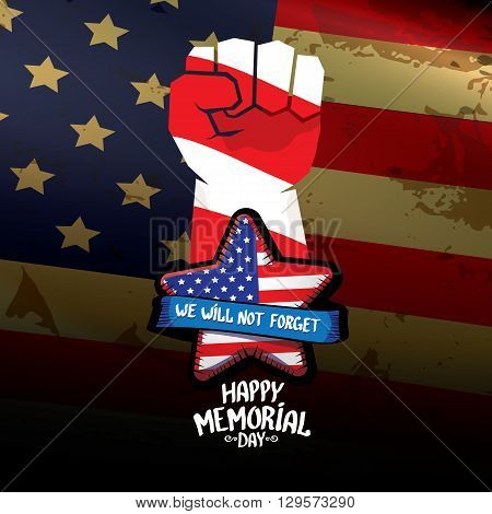 Happy Memorial Day vector background. USA Memorial day greeting card with clenched fist