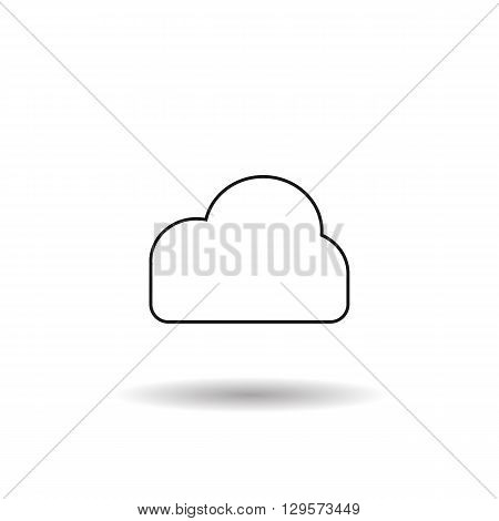 cloud information weather black web icon thin line illustration for mobile app color picture on a white background and shadow