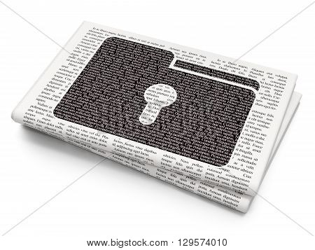 Finance concept: Pixelated black Folder With Keyhole icon on Newspaper background, 3D rendering