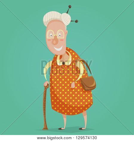 Old woman cartoon character. Happy grandmother with stick and handbag. Happy grandparents day poster. Vector illustration