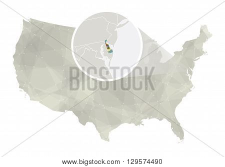 Polygonal Abstract Usa Map With Magnified Delaware State.