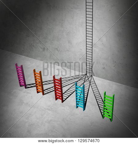 Unification success business concept as a group of short diverse ladders creating shadows that combine together to form a high ladder to success as a 3D illustration.