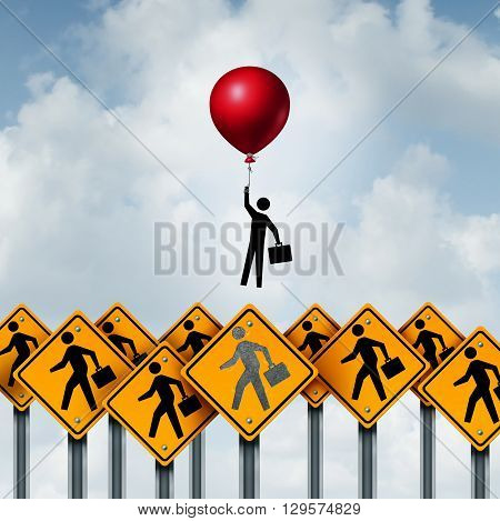 Success business and successful businessperson metaphoric corporate concept as a group of signs with businesspeople and an individual person breaking free with the support of a balloon with 3D illustration elements.