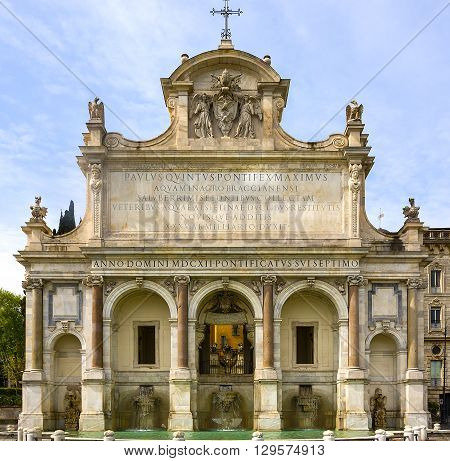 The Fontana dell'Acqua Paola is a monumental fountain located on the Janiculum Hill in Rome Italy
