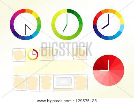 Clock design ideas. Set of clock vector icons and kitchen schematic picture.