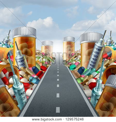 Medicine and medication concept as a group of pills and prescription drugs on a road to a light as a health care metaphor for medicinal medical treatment solution from a doctor with 3D illustration elements.
