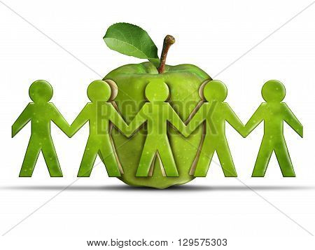 Group health and community health care or healthcare concept as a green apple with cut out peeled fruit skin shaped as humans holding hands together as a symbol forsociety wellbeing in a 3D illustration style.