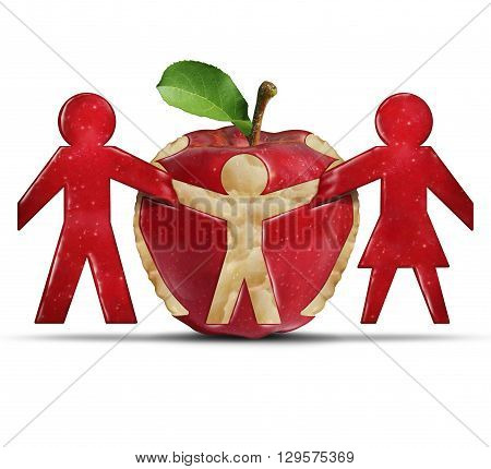 Healthy eating and good nutrition as a doctor stethoscope shaped as a nest protecting a green granny smith apple as a health care and medicine concept for living a lifestyle of good health and medical insurance.