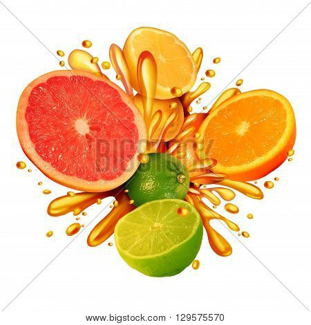 Citrus fruit splash symbol with a group of fresh oranges lemons lime tangerines and grapefruit splashing in juice for healthy living eating organic juicy health food full of natural vitamins in a 3D illustration style.