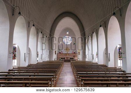 KLEINOSTHEIM, GERMANY - JUNE 08: Saint Lawrence church in Kleinostheim, Germany on June 08, 2015.
