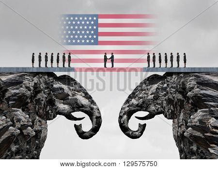 American conservative agreement and Republican reconciliation concept as two mountain cliffs shaped as an elephant symbol coming together as an American political accoprd symbol as a 3D illustration.