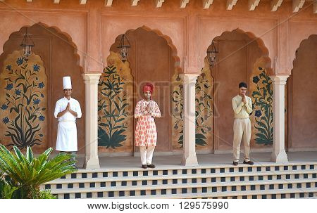AGRA INDIA - OCTOBER 31 2015: Staff at the Amervillas Resort and Spa. The resort is part of the Oberoi chain of luxury hotels.