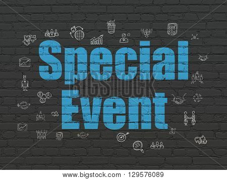 Business concept: Painted blue text Special Event on Black Brick wall background with  Hand Drawn Business Icons