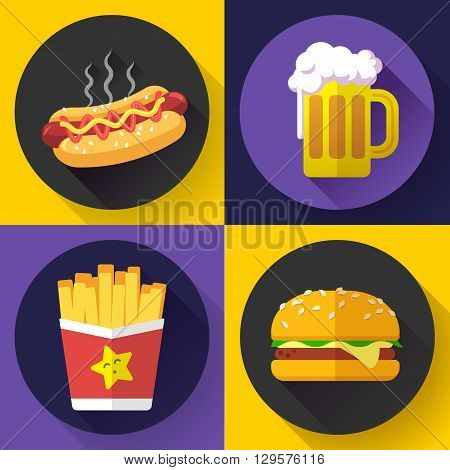Set of fast food menu and beer icons. Flat design style