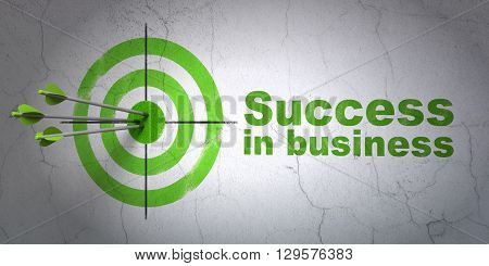 Success business concept: arrows hitting the center of target, Green Success In business on wall background, 3D rendering