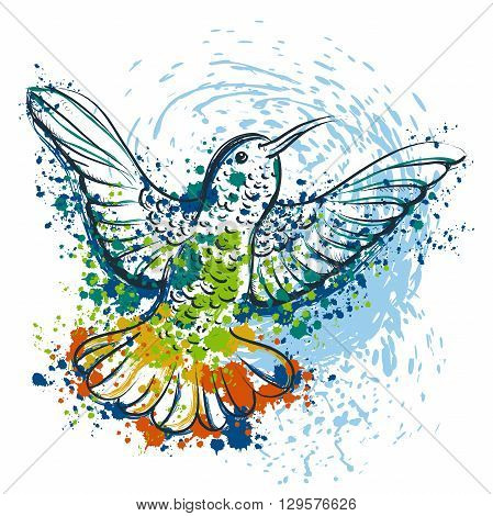Hummingbird with abstract splashes in watercolor style. Vintage colorful hand drawn vector illustration. Design concept for banner, card, scrap booking, t-shirt, bag, print, poster.