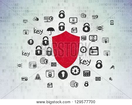 Privacy concept: Painted red Shield icon on Digital Data Paper background with  Hand Drawn Security Icons