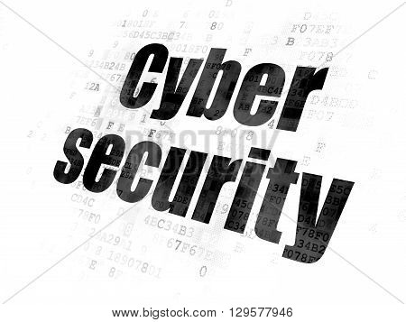 Safety concept: Pixelated black text Cyber Security on Digital background