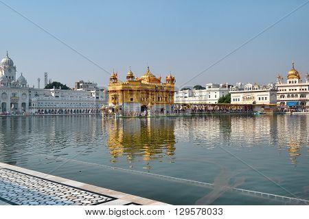 AMRITSAR INDIA - 30 OCTOBER 2015: Golden Temple (Harmandir Sahib) in Amritsar Punjab India the holiest Sikh gurdwara in the world.